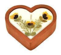 Scented Terra Cotta 3.5 inch Heart Candle
