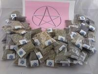 50 Herb Sampler Kit with charcoal, White Sage wand, and handmade 3 inch by 3 inch muslin bag