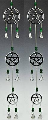 Three Pentacle Chrome Chime 24 inch Long