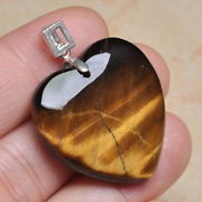 Tiger's Eye Love Heart Pendant