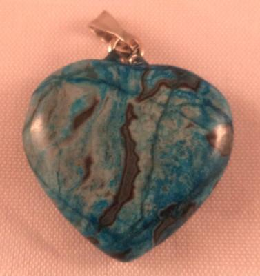 Blue Crazy Lace Heart Pendant